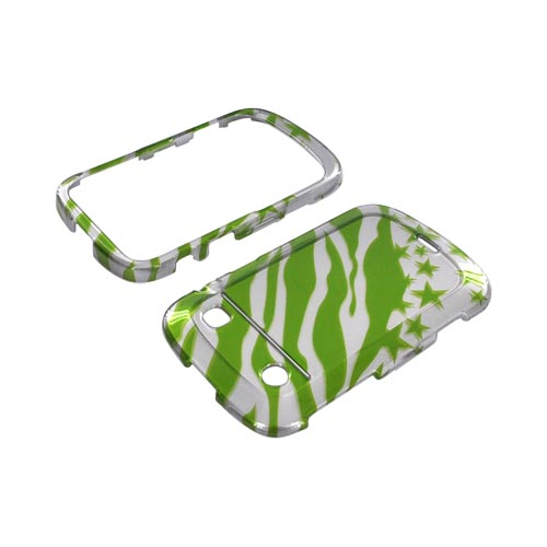 Blackberry Bold 9900, 9930 Hard Case - Green/ Silver Zebra & Stars