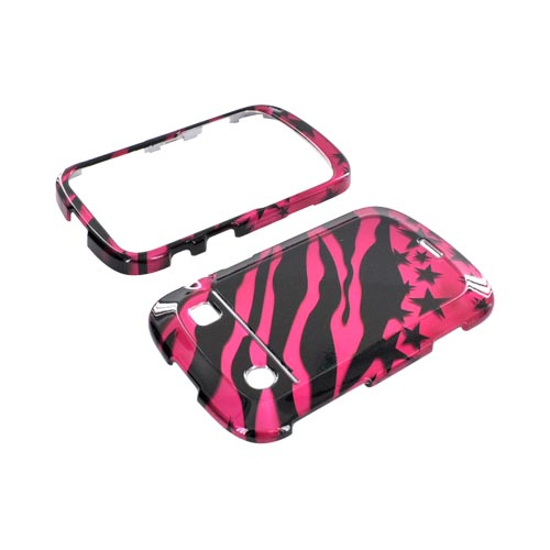 Blackberry Bold 9900, 9930 Hard Case - Hot Pink/ Black Zebra & Stars