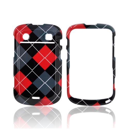 Blackberry Bold 9900,9930 Hard Case - Red/ Gray/ Black Argyle