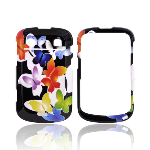 Blackberry Bold 9900,9930 Hard Case - Rainbow Butterflies on Black