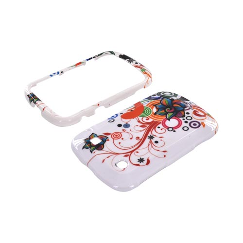 Blackberry Bold 9900, 9930 Hard Case - Rainbow Autumn Floral Design on White