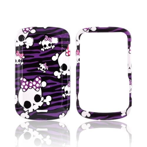 Blackberry Bold 9900, 9930 Hard Case - White Skulls on Purple Zebra