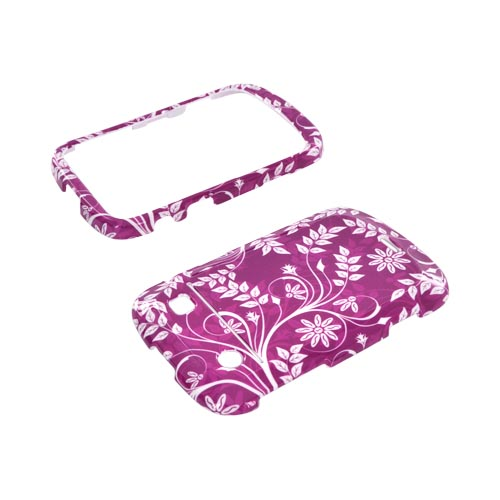 Blackberry Bold 9900,9930 Hard Case - White Vines/ Leaves on Purple