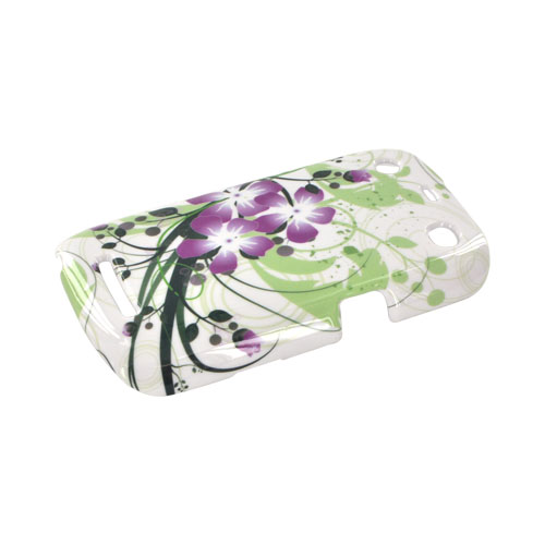 Blackberry Curve 9360/ Apollo Hard Case - Purple Lilly on Green/ White