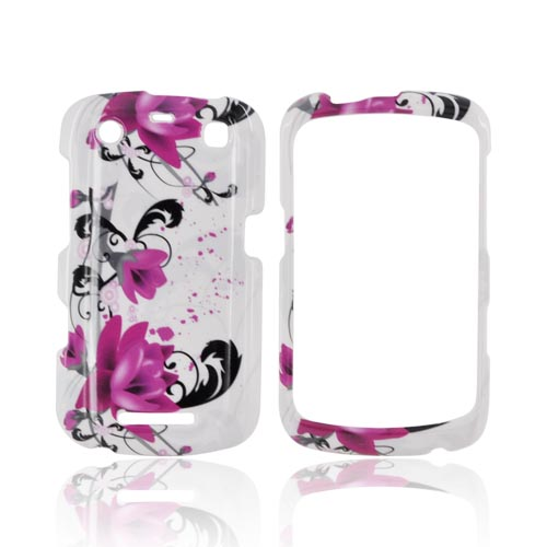 Blackberry Curve 9360/ Apollo Hard Case - Pink Flowers on White