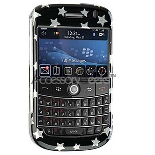 Blackberry Bold Hard Protective Case - Silver Star on Black