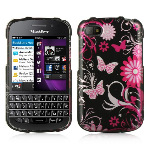 Pink Flowers & Butterflies on Black Hard Case for Blackberry Q10
