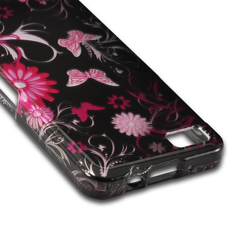Pink Flowers & Butterflies on Black Hard Case for Blackberry Z10