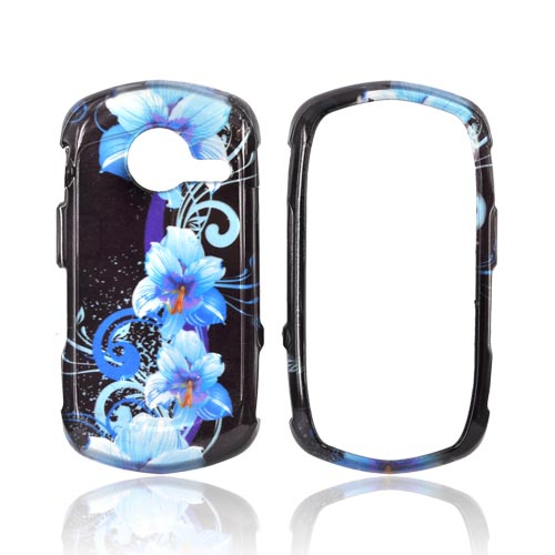 Casio G'zOne Commando C771 Hard Case - Blue Flowers on Black