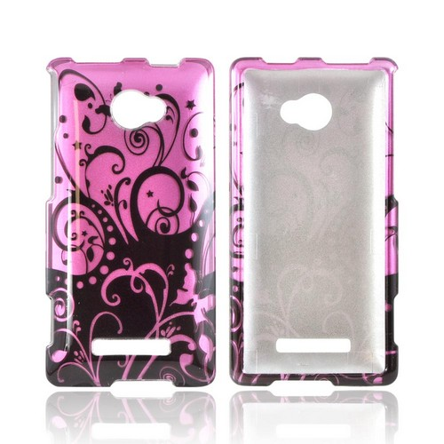 HTC 8X Hard Case - Black Swirls Design on Purple