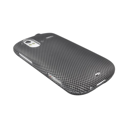 HTC Amaze 4G Rubberized Hard Plastic Snap On Case - Carbon Fiber
