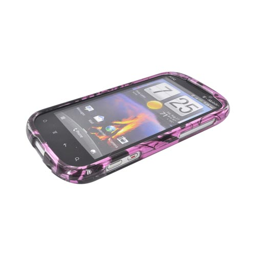HTC Amaze 4G Hard Case - Black Swirl Designs on Purple
