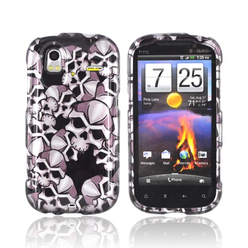HTC Amaze 4G Hard Case - Silver Skulls on Black