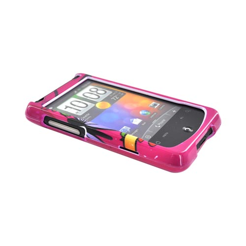 HTC Aria Hard Case (Friends) - Skull and Butterfly on Hot Pink
