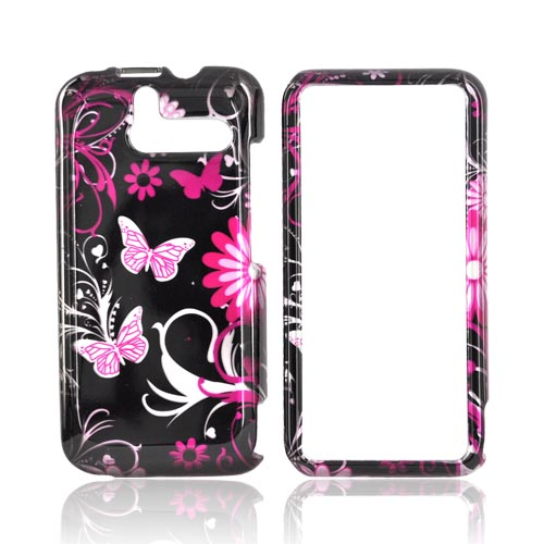 HTC Arrive Hard Case - Pink Butterflies & Flowers on Black
