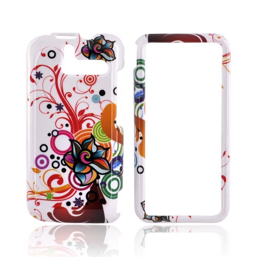 HTC Arrive Hard Case - Rainbow Autumn Floral Design on White