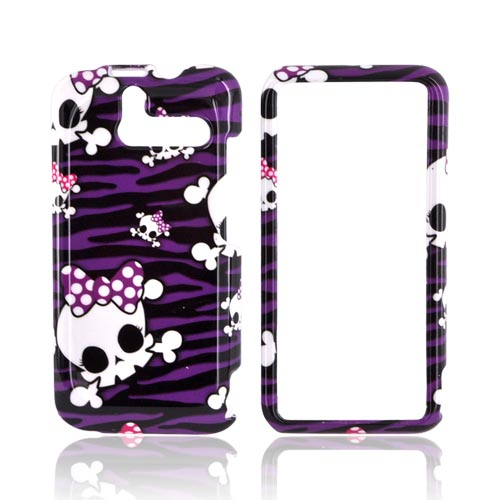 HTC Arrive Hard Case - White Skulls on Purple Zebra