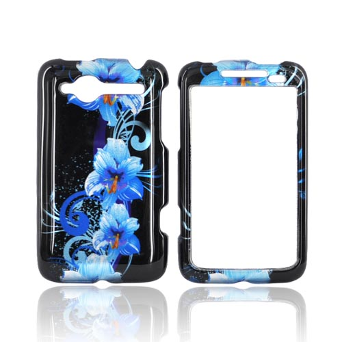 HTC Bee/Wildfire Hard Case - Blue Flower on Black
