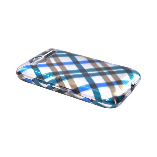HTC Bee/Wildfire Hard Case - Checkered Diamonds of Blue, Green, Silver