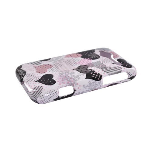 HTC Bee/Wildfire Hard Case - Pink Hearts on White