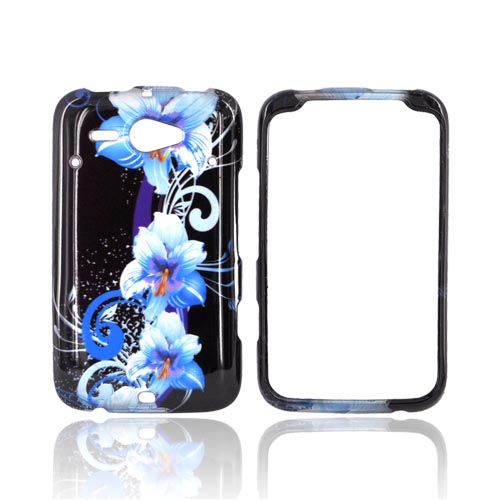HTC Status Hard Case - Blue Flowers on Black