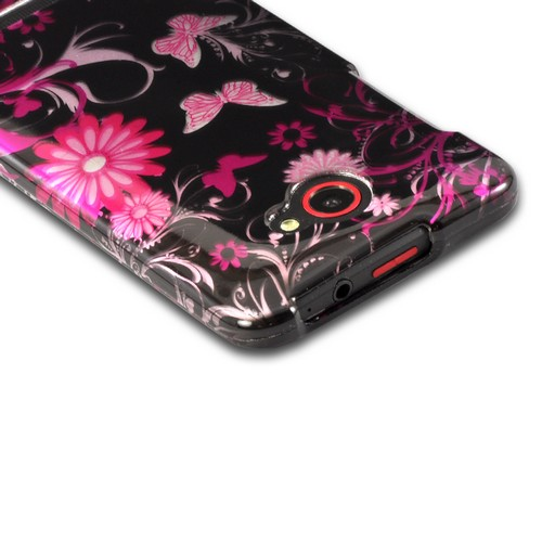 Pink Flowers & Butterflies on Black Hard Case for HTC Droid DNA