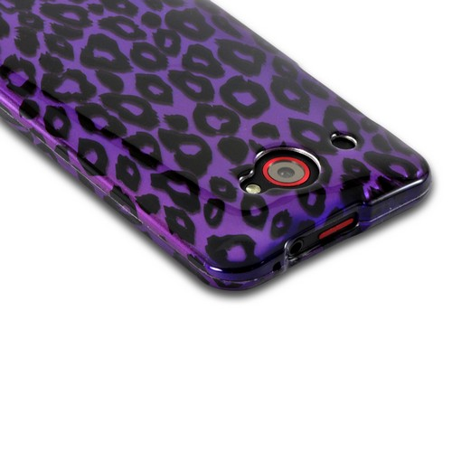 Purple/ Black Leopard Hard Case for HTC Droid DNA