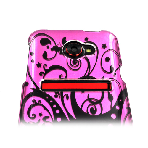 HTC EVO 4G LTE Hard Case - Black Swirls on Pink