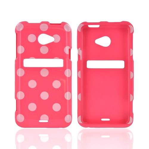 HTC EVO 4G LTE Hard Case - White Polka Dots on Pink