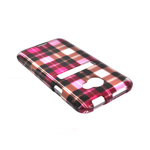 HTC EVO 4G LTE Hard Case - Plaid Pattern of Pink, Hot Pink, Brown, Gray