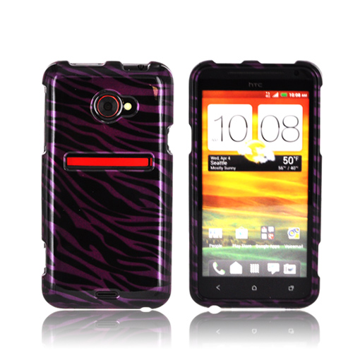 HTC EVO 4G LTE Hard Case - Purple/ Black Zebra