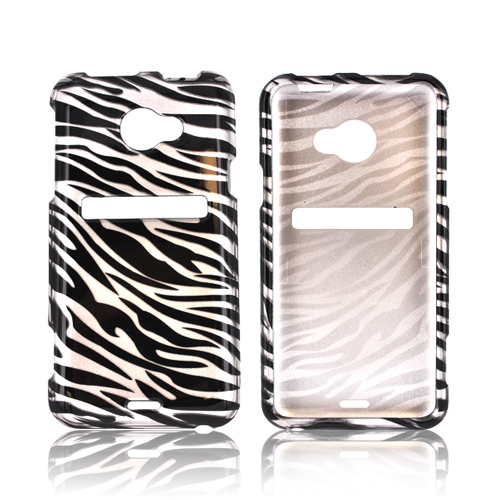 HTC EVO 4G LTE Hard Case - Silver/ Black Zebra