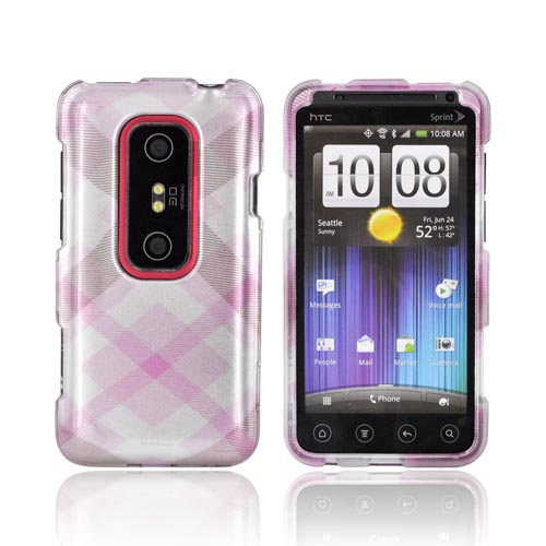 HTC EVO 3D Hard Case - Baby Pink Plaid on Silver