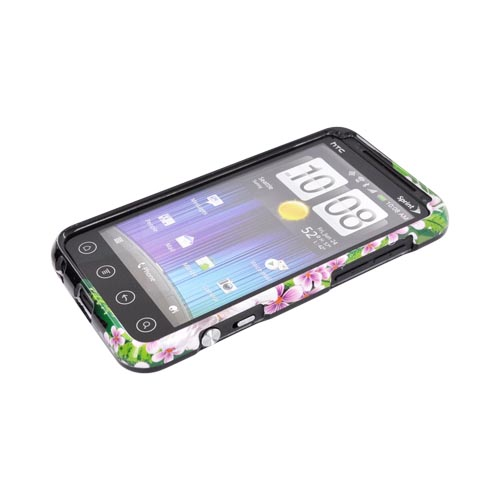 HTC EVO 3D Hard Case - White/ Green Flower on Black