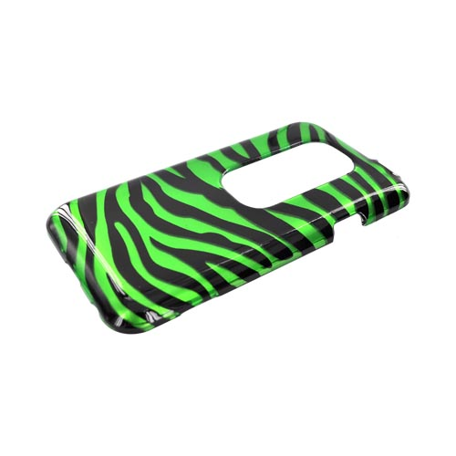 HTC EVO 3D Hard Case - Green/ Black Zebra