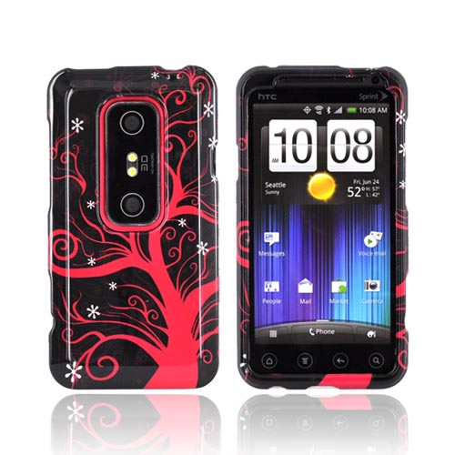 HTC EVO 3D Hard Case - Hot Pink Tree on Black