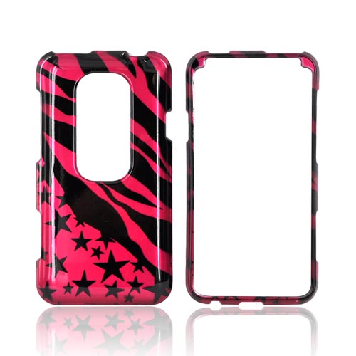HTC EVO 3D Hard Case - Hot Pink/ Black Zebra & Stars