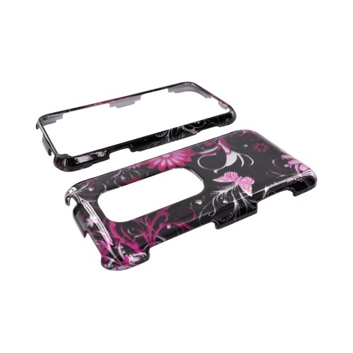 HTC EVO 3D Hard Case - Pink Butterflies & Flowers on Black