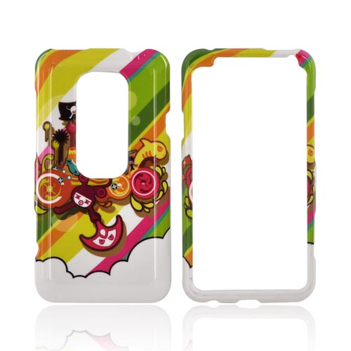 HTC EVO 3D Hard Case - Colorful Pirate Bay on White