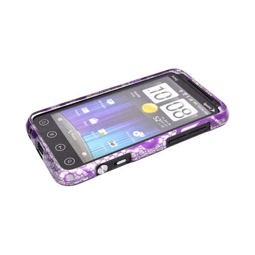 HTC EVO 3D Hard Case - Purple Flower Lace on Silver