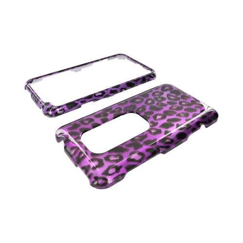HTC EVO 3D Hard Case - Purple/ Black Leopard