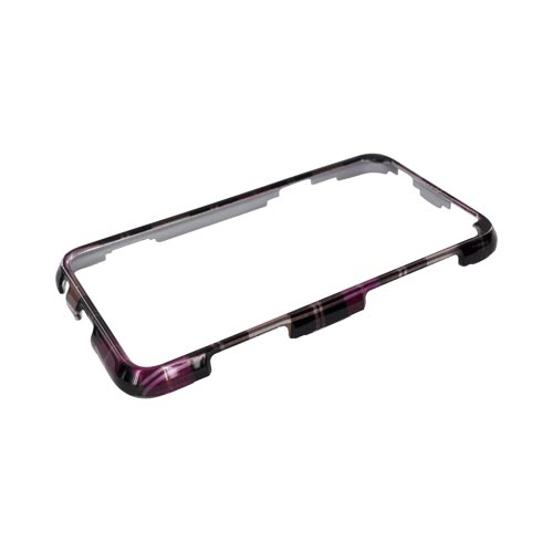 HTC EVO 3D Hard Case - Hot Pink/ Pink/ Brown Plaid on Silver