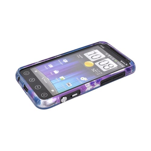 HTC EVO 3D Hard Case - Stars & Peace Signs on Silver/ Purple/ Blue