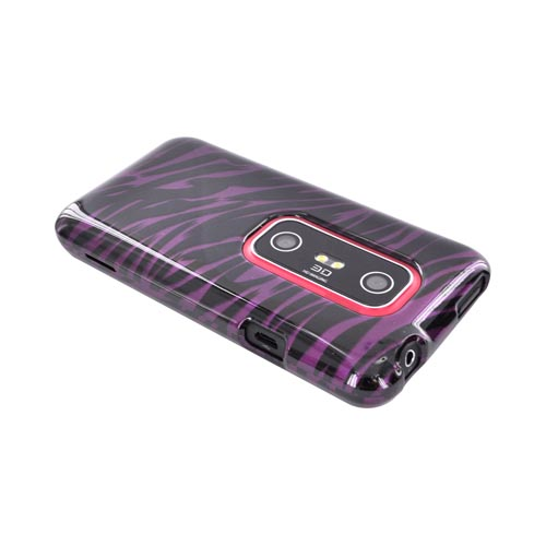 HTC EVO 3D Hard Case - Purple/ Black Zebra