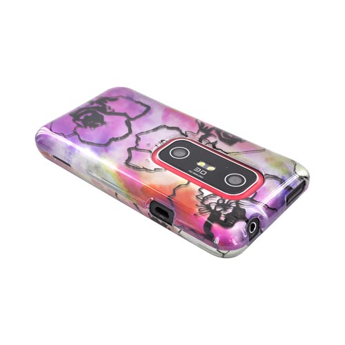 HTC EVO 3D Hard Case - Pink Water Color Flowers
