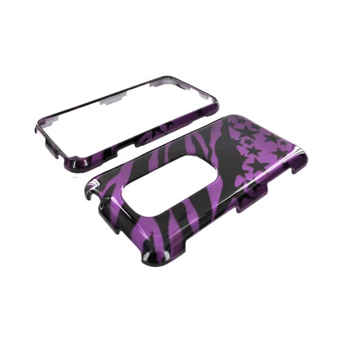 HTC EVO 3D Hard Case - Purple/ Black Zebra & Stars