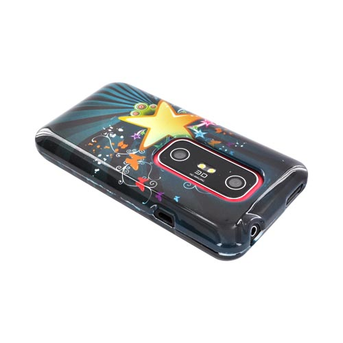 HTC EVO 3D Hard Case - Star Blast & Butterflies on Teal/ Black