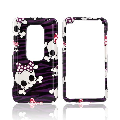 HTC EVO 3D Hard Case - White Skulls w/ Bows on Purple & Black Zebra