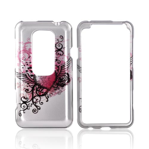 HTC EVO 3D Hard Case - Pink Heart w/ Wings on Silver