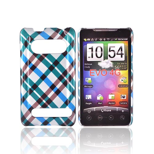 HTC Evo 4G Hard Case - Checkered Pattern of Blue, Green, Brown, Silver